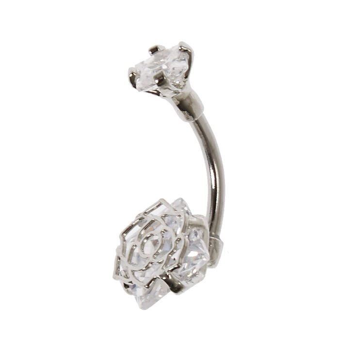 Cubic Zirconia Flower Caged Belly Bar,