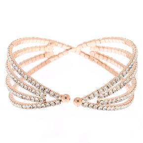 Rose Gold Rhinestone Hourglass Cuff Bracelet,
