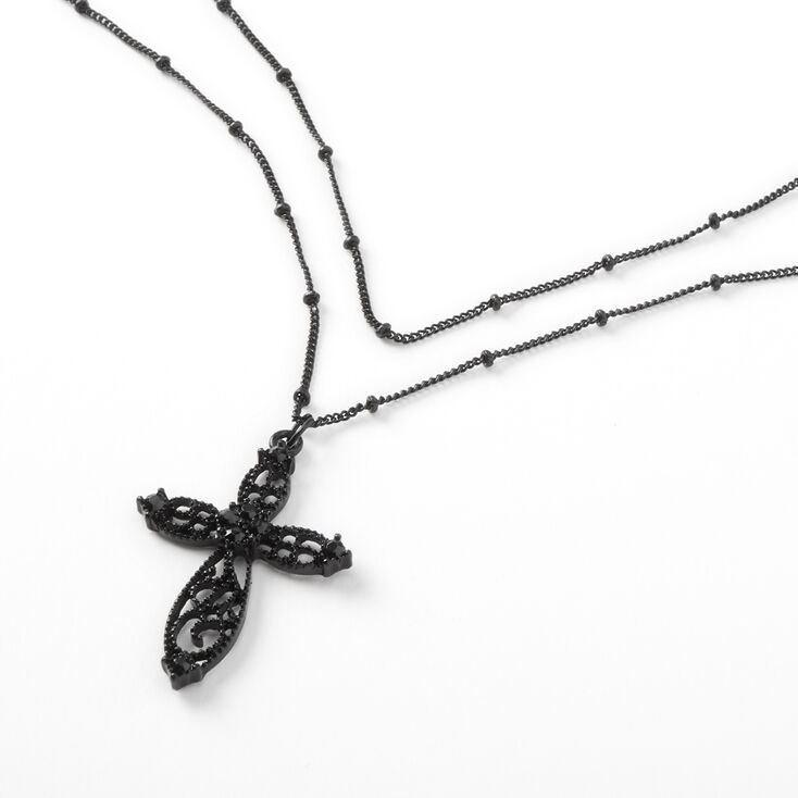 Filigree Cross Multi Strand Necklace - Black,