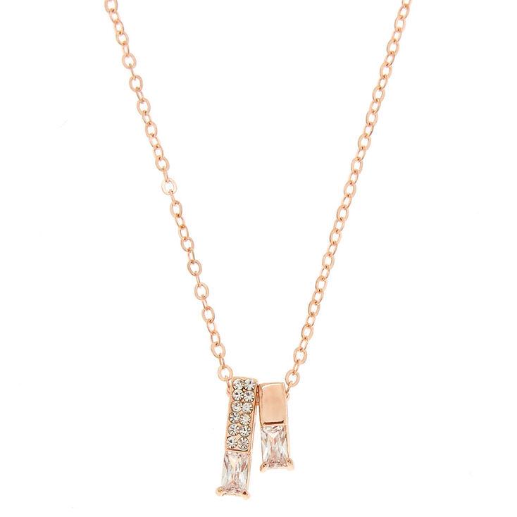 Rose Gold Bar Pendant Necklace,
