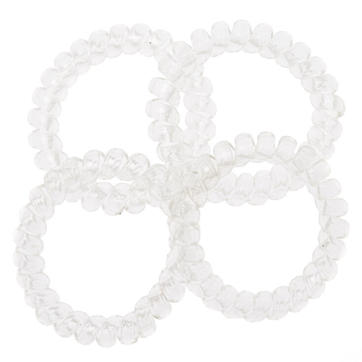 Spiral Hair Ties - Clear, 4 Pack,