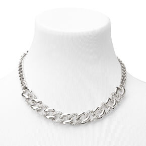 Silver Rhinestone Curb Chain Statement Necklace,