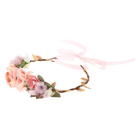 Bridal Flower Crown Ribbon Headwrap - Pink,
