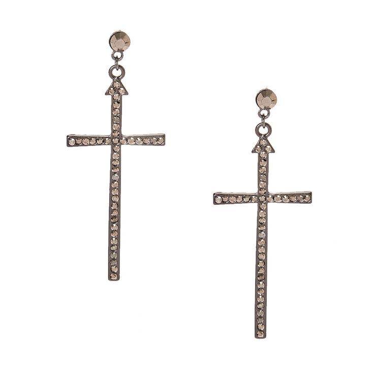 Large Burnished Silver Tone Cross Drop Earrings,