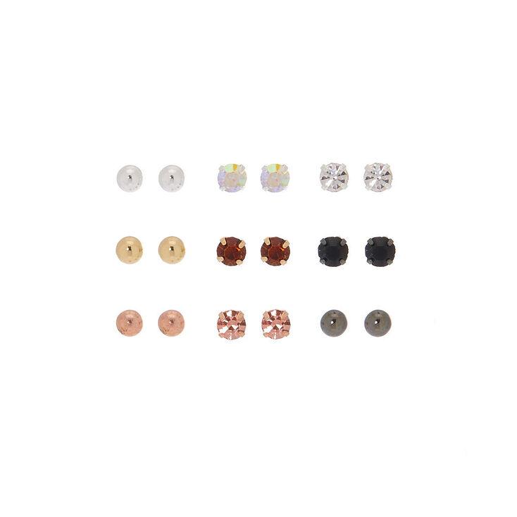 Mixed Metal Stud Earrings - 9 Pack,