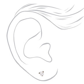 Silver Titanium Cubic Zirconia Round Stud Earrings - 4MM,
