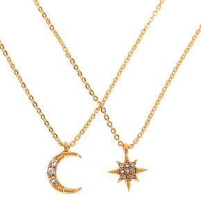 Gold Celestial Pendant Necklaces - 2 Pack,