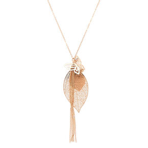 Rose Gold Leaf Filigree & Butterfly Long Pendant Necklace,