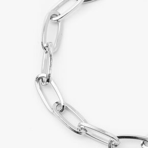 Silver Paperclip Link Chain Bracelet,
