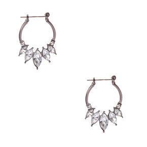 Silver Tone  Faux Crystal Edge  Hoop Earrings,