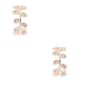 Rose Gold 10MM Vine Hoop Earrings,