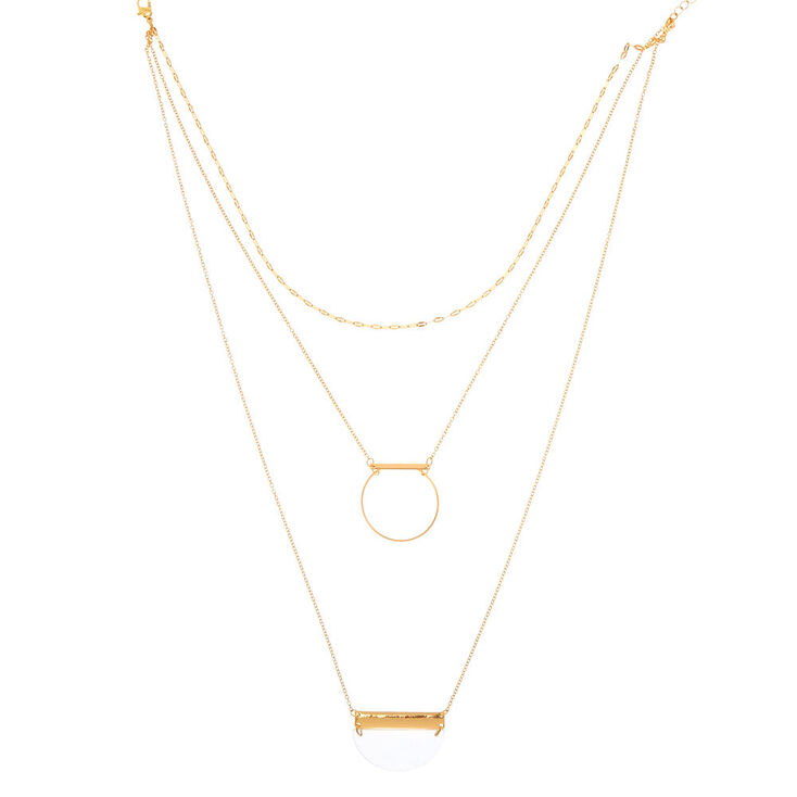 Geometric Clear And Gold Multi Strand Necklace,