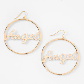 "Gold 2"" Angel Script Circle Drop Earrings,"