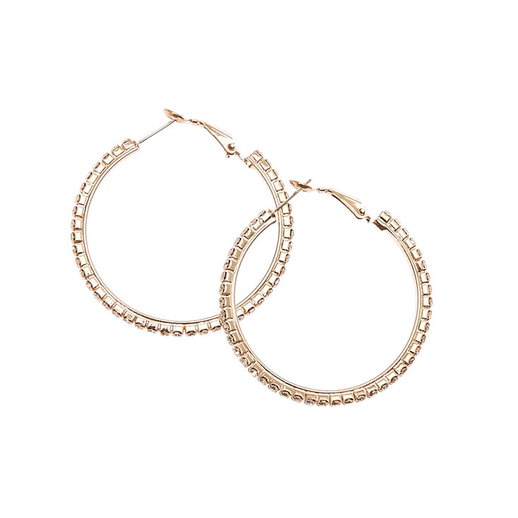 Crystal Lined Rose-gold Tone Hoop Earrings,