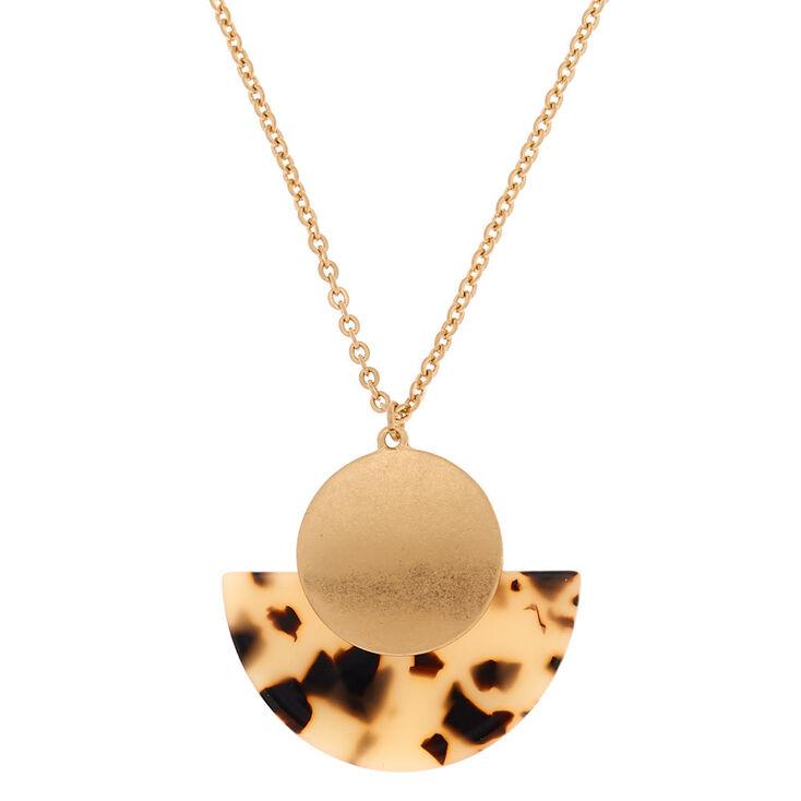 Gold Resin Tortoiseshell Half Moon Pendant Necklace - Brown,