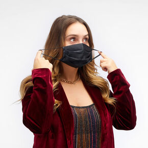 Black Pleated Cloth Face Mask - Adult,