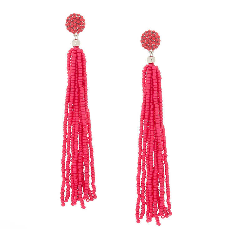 "4.5"" Beaded Tassel Drop Earrings - Hot Pink,"