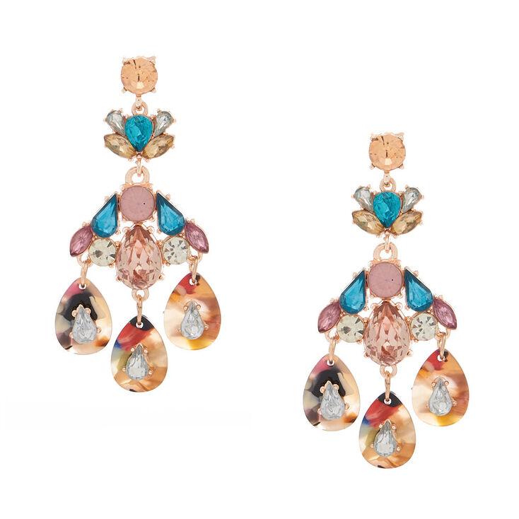 "3"" Embellished Heirloom Chandelier Drop Earrings,"