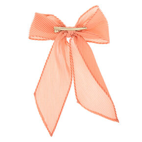 Pleated Chiffon Hair Bow Clip - Pink,