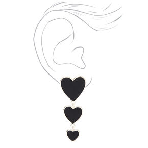 Silver Triple Hearts Enamel Drop Earrings - Black,