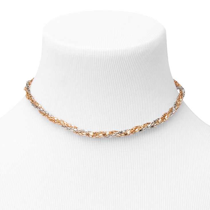 Mixed Metal Twisted Choker Necklace & Bracelet Set - 2 Pack,