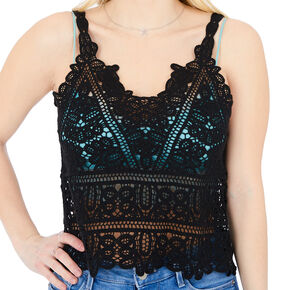Crochet Tank Top - Black,