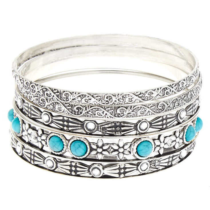 Silver Vintage Bangle Bracelets - Turquoise, 5 Pack,