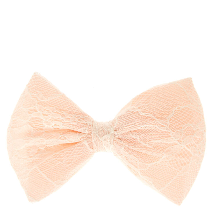 Floral Lace Light Pink Bow Hair Clip,