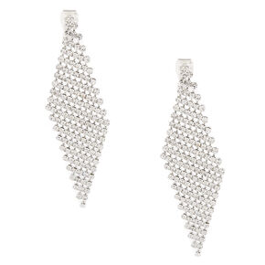 "Silver 2.5"" Rhinestone Clip On Drop Earrings,"