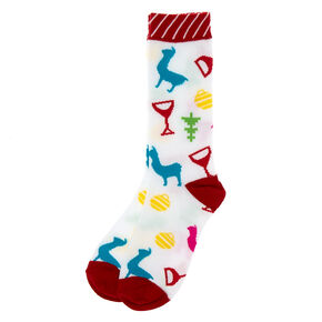 Christmas Wine Crew Socks - White,
