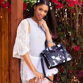 Floral Satchel Crossbody Bag - Black,