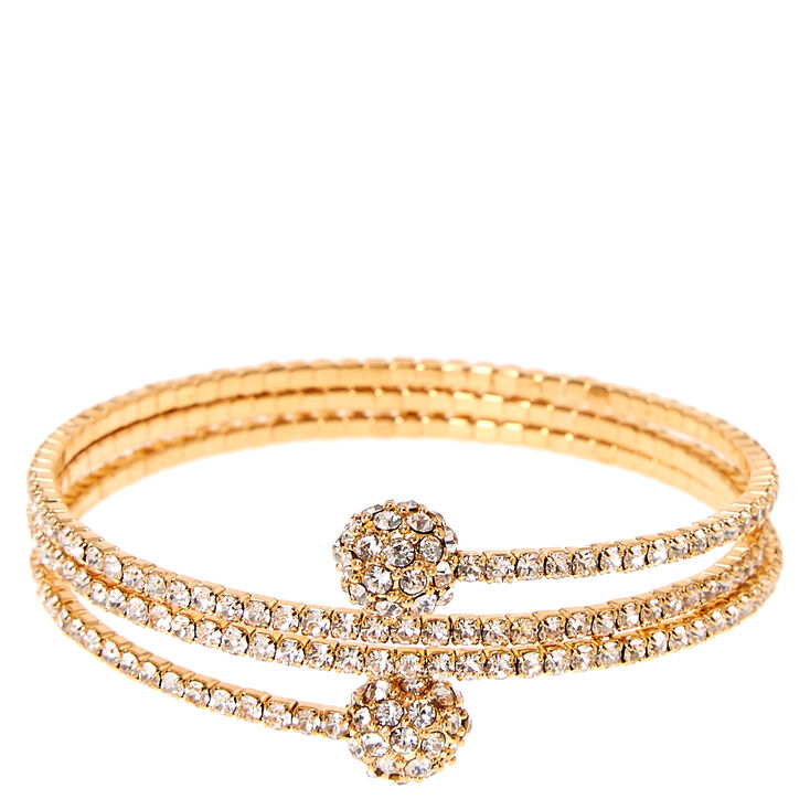 Gold Tone Faux Crystal Fireball Coil Bracelet,