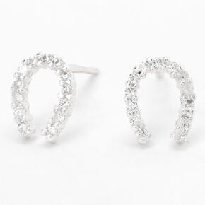 Sterling Silver Embellished Horseshoe Stud Earrings,