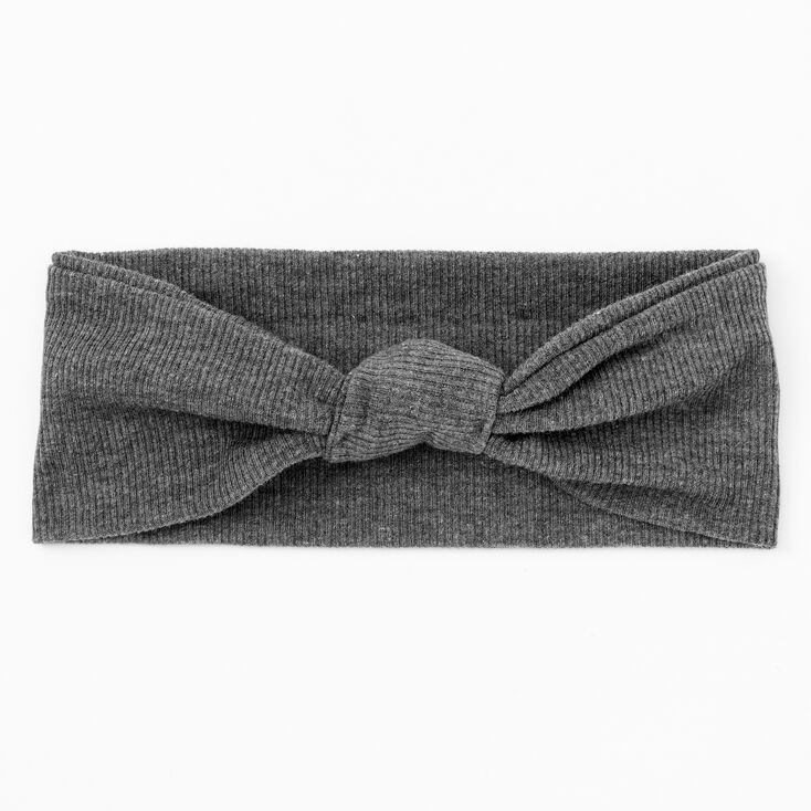 Ribbed Knotted Headwrap - Charcoal,