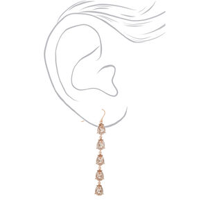 "Rose Gold 2.5"" Crystal Drop Earrings,"