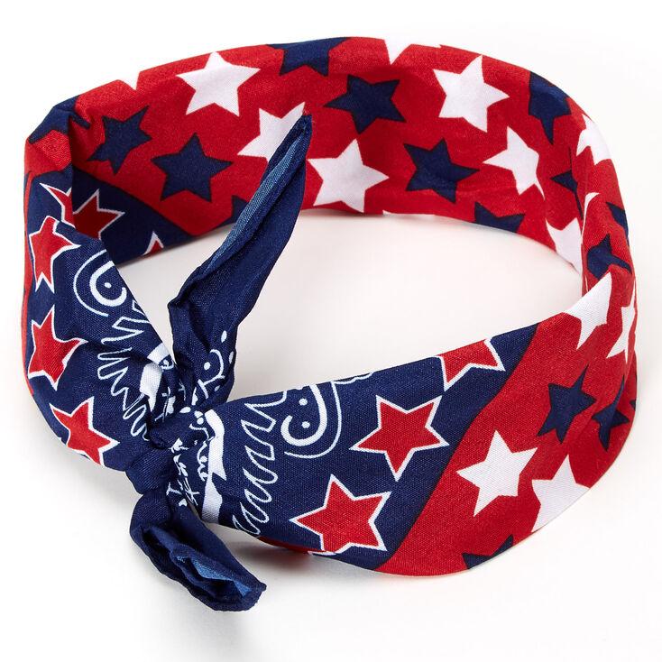 Paisley Print USA Stars Bandana Headwrap,