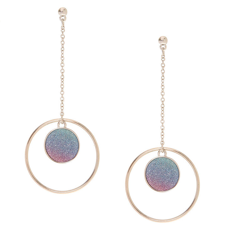 Glitter Ombre Disk Drop Earrings,