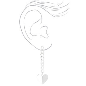 "Silver 2"" Curb Chain Heart Drop Earrings,"