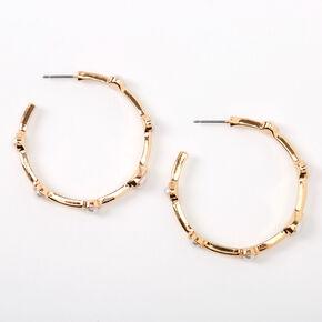 Gold 40MM Pearl Stone Hoop Earrings,