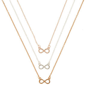 Mixed Metal Infinity Pendant Necklaces - 3 Pack,