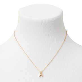 Gold Mini Pearl Initial Pendant Necklace - A,