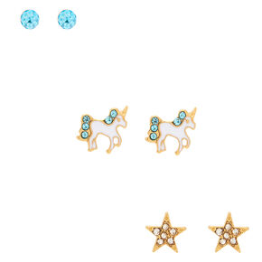 18kt Gold Plated Unicorn Stud Earrings - 3 Pack,