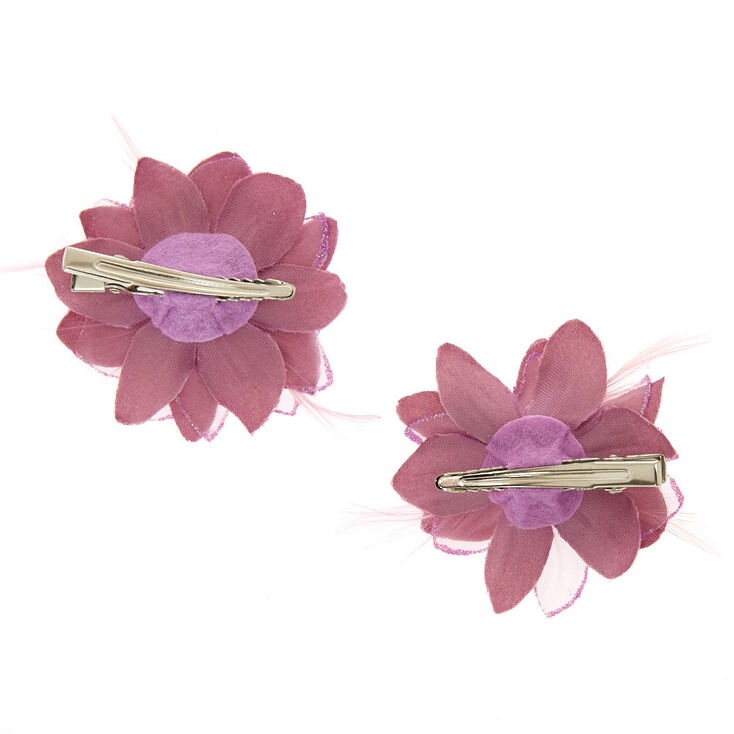 Flower Hair Clips - Mauve, 2 Pack,