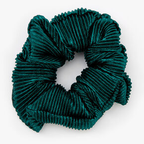Medium Ribbed Shimmer Hair Scrunchie - Emerald,