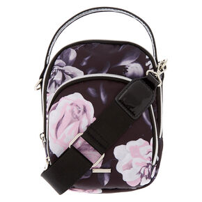 Floral Messenger Crossbody Bag - Black,