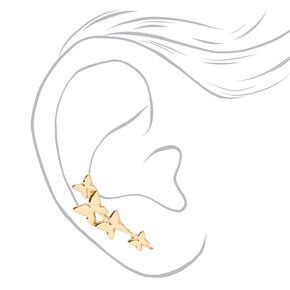 Gold Butterfly Ear Crawler Stud Earrings,