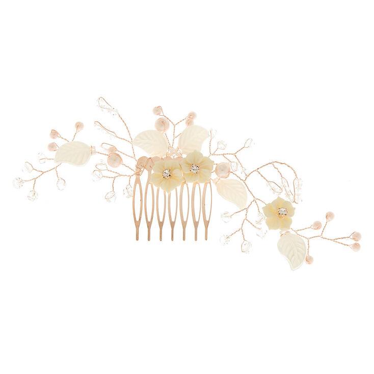 Rose Gold Vintage Floral Hair Comb,