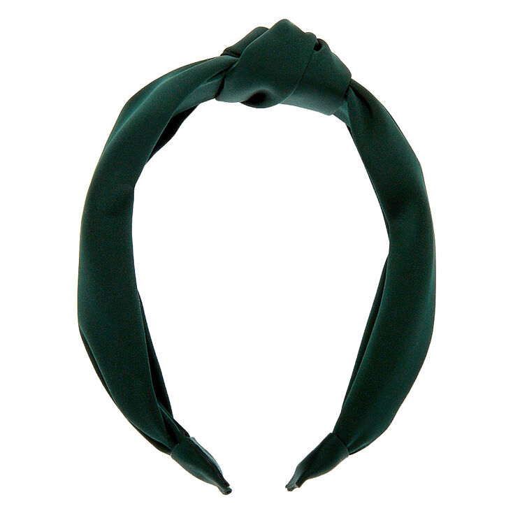 Satin Knotted Headband - Emerald Green,