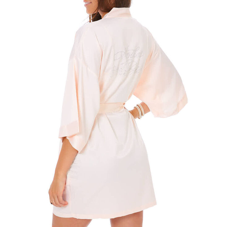 Light Pink Satin & Crystal Mother of the Bride Robe - M/L,