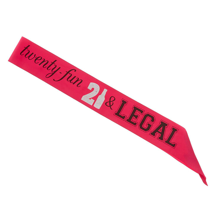 Twenty-Fun & Legal Birthday Sash - Pink,